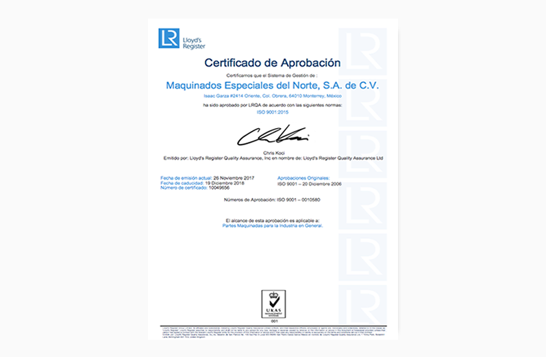Certificado No. MQA 4000235